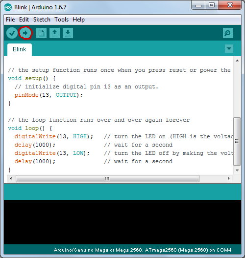 Using the blink sketch to test that the Arduino MEGA 2560 bootloader is working