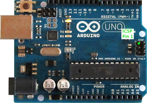 Pin 1 of the ICSP header on an Arduino Uno
